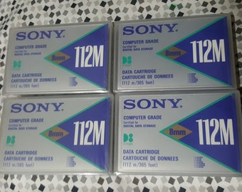 4 Sony Computer Grade digital data cartridges 8mm 112M 365 feet QG112MAA