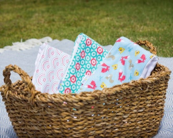 Burp Cloths - Set of 3 - Cloth Diapers: Foxes, Hexagon, & Scallops - Evy Baby