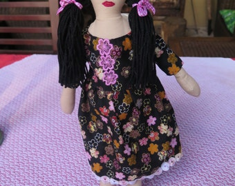 Hand made, one of a kind, textile doll
