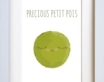 Wall Art -  'Precious Pea' - Nursery Print