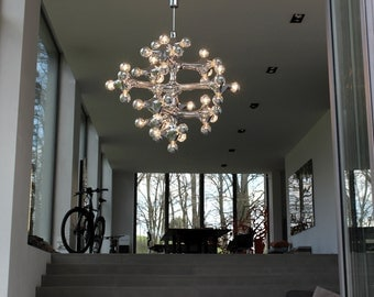 Unique Gigantic Cosack Organic Molecules Chandelier Sputnik Mirrored 60s 1970s
