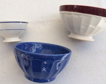3 pretty bowls old, GIEN and DIGOIN SARREGUEMINES, vintage french 1930s