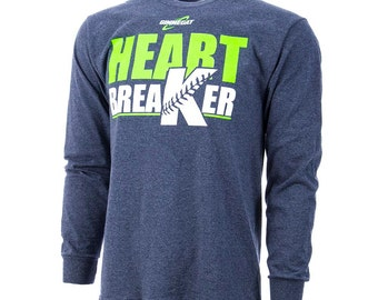 GIMMEDAT Heart Breaker Long Sleeve Softball T-Shirt, Softball Shirts, Softball Gifts - Free Shipping!