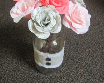 Crepe paper rose wedding centerpiece