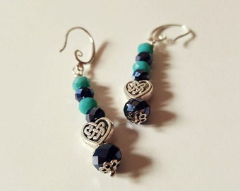 Turquoise earrings with hearts