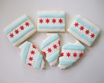 Chicago Flag Cookies