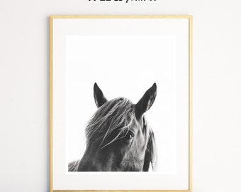 Horse Wall Art, Horse Print, Black and White Photography, Modern Art, Equestrian Art, Scandinavian Print, Printable Art