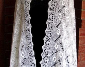 Traditional white hand knitted Haapsalu shawl, Estonian lace shawl, Wedding Stole