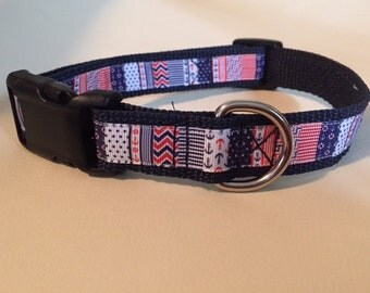 Nautical Dog Collar (red, white, blue)