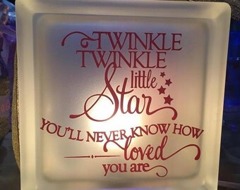 Twinkle Twinkle Little Star Frosted Glass Block