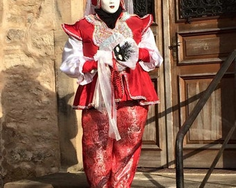 Red and silver Venetian costumes
