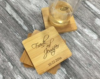 Personalized Wedding Gifts for Couple | Personalized Coasters |  Wood Coasters | Unique Wedding Gift for Couple | Engraved Coasters Set of 4