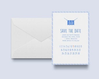 Wedding Save The Date for vintage or sea side style weddings with matching envelope