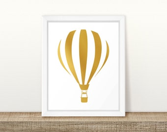 Hot Air Balloon in Gold Printable, Digital Printable
