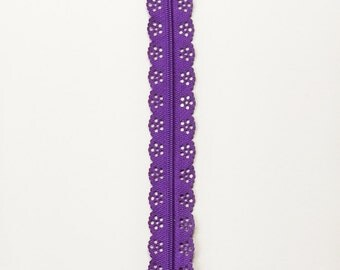 Dress Sewing for Girls - YKK Lace Zipper - Purple Zipper - 12 Inch Zipper - Lace Zipper - Pouch Zipper - Zippers for Sewing - Nylon Zippers