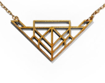 Gold Geometric Laser Cut Wooden Necklace : #7