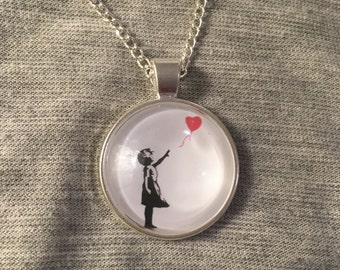 Girl and balloon inspired pendant - Banksy