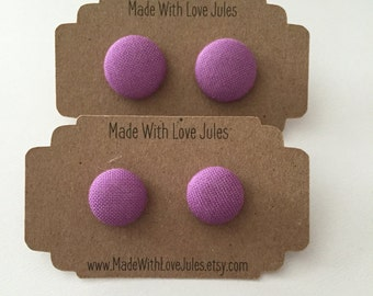 Perfect purple fabric covered earrings