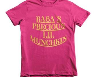 Toddler T-shirt/Toddler Clothing/Gold Glitter Toddler T-shirt/Baba's Lil Munchkin