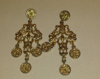 Retro Vintage Gold Chandelier Earrings