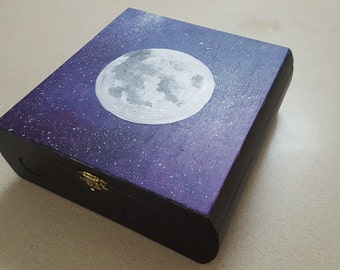 Hand painted full moon storage box