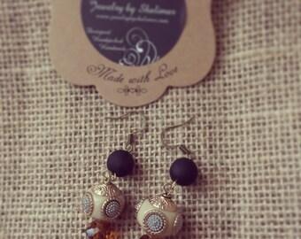 Tan and dark brown Glass beads Handmade Earrings