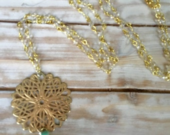 Tassel Necklace Turquoise and Gold Pendant
