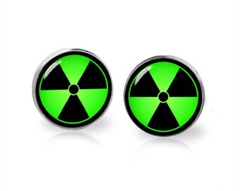 Radiation Symbol Stud Earrings Hazard symbol Earrings Geeky Jewelry Fangirl Fanboy