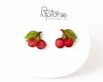 Red Cherry Earrings, cherries, rockabilly cherry studs, valentines earrings
