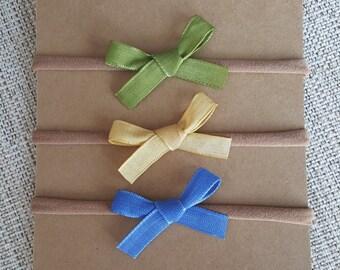Set of 3 Ribbon Hand-tied bows Petite Small Baby Headband Nylon Green Blue