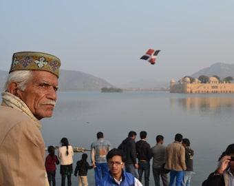 Local Man at Jal Mahala, Jaipur, India, on National Kite Day (14th January) 2015