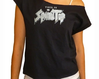 Logo - Spinal Tap off-shoulder raw edge cropped top
