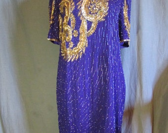 1980s Early 1990s Purple and Gold Sequin and Fully Beaded Dress Goes Below Knee | Trophy Dress | Size XL Extra Large 14-16 Plus Size