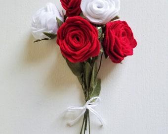 Red and White Rose Bouquet / Felt Flower Bouquet / Wedding Bouquet / Bridesmaid