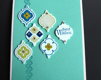 Best Wishes and Gems Greeting Card, Handmade