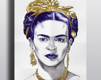 Poster Frida Kahlo, Illustration, Art, Poster, biro, reproduction, art et collection, portrait, realism, icone, mexican