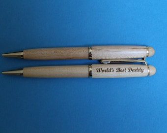 World's Best Daddy Laser Engraved Maple or Rosewood Pen.