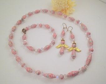 Pink Angel Earring Set