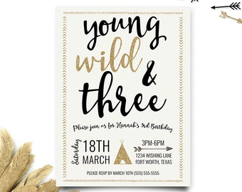 Young Wild and Three Birthday Invitation, Third Birthday Invite, Tribal Invitation, Wild and Three, 3rd Birthday, Printable Invitation