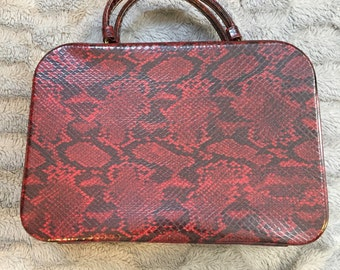 Fantastic red faux snakeskin purse 1950's