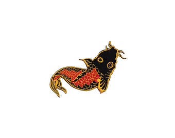 Koi Tattoo fish Embroidered Iron on Patch - Fish Iron on Applique