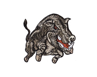 Boar Patch - Boar  Embroidered Iron on Patch - BoarApplique
