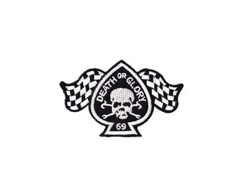 Skull Patch - Death or Glory   Embroidered Iron on Patch  - Skull   Iron on Applique