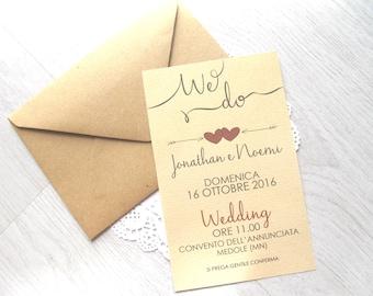 "Partecipazione Matrimonio Moderna Kraft - Wood Wedding Invitation ""We Do"" - Save the date"