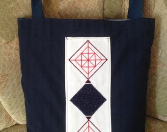 Embroidered tote linen bag