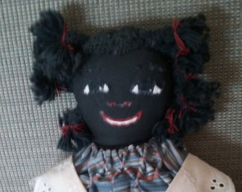 Vintage Handmade Cloth Country Black Doll