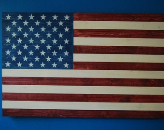 Wooden American Flag, hand crafted by Navy Veteran