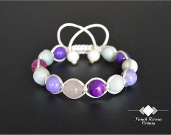 "Bracelet ""Spring violet"" braided by hand with natural pearls and precious stones 10 mm, size adjustable"
