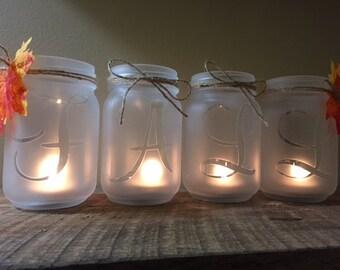 Fall Decor, Rustic Decor, Rustic Candle Holder, Mason Jar Candle Holder, Farmhouse Decor