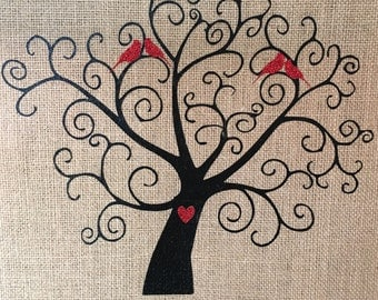 Wall Hanging, Whimsy Tree with Cardinals Burlap